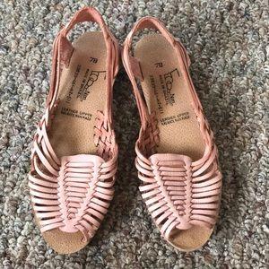30bda20bd5a3 Vintage Desert Pink Leather Huaraches Sandals 7B
